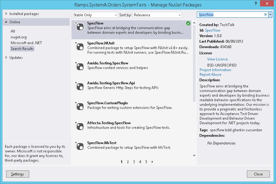 Specflow blog_Installing Specflow