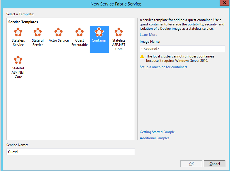 Creating Service Fabric in Visual Studio